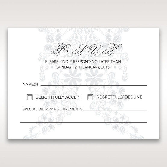 White Laser Cut Floral Wrap - RSVP Cards - Wedding Stationery - 52