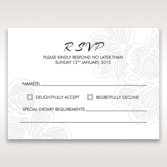 White Laser Cut Flower Frame - RSVP Cards - Wedding Stationery - 0