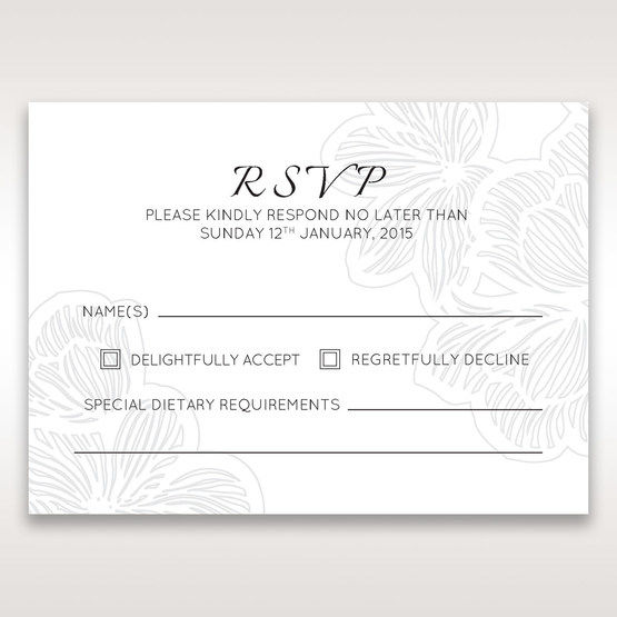 White Laser Cut Floral Lace - RSVP Cards - Wedding Stationery - 86