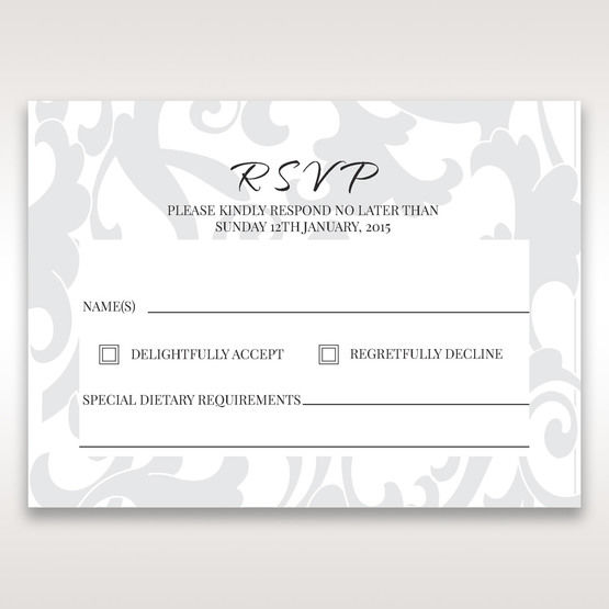 Blue Laser Scrolling Grandeur Layered Laser Cut - RSVP Cards - Wedding Stationery - 57