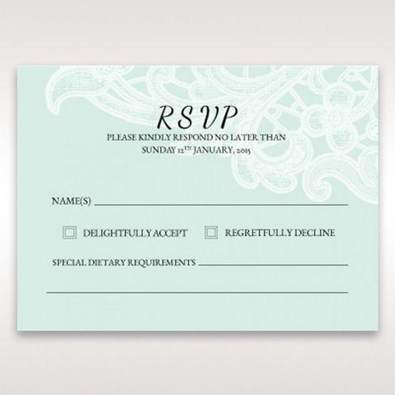 Blue Laser Cut Floral Pocket - RSVP Cards - Wedding Stationery - 45