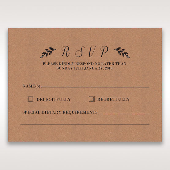Brown Rustic - RSVP Cards - Wedding Stationery - 11