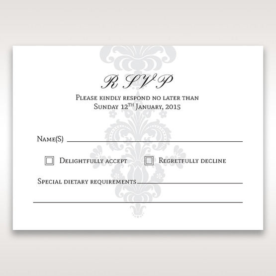 White Letter-fold Damask Pocket - RSVP Cards - Wedding Stationery - 77