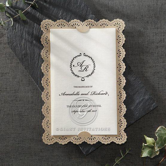 Vintage Lace Frame wedding invitations HB15040