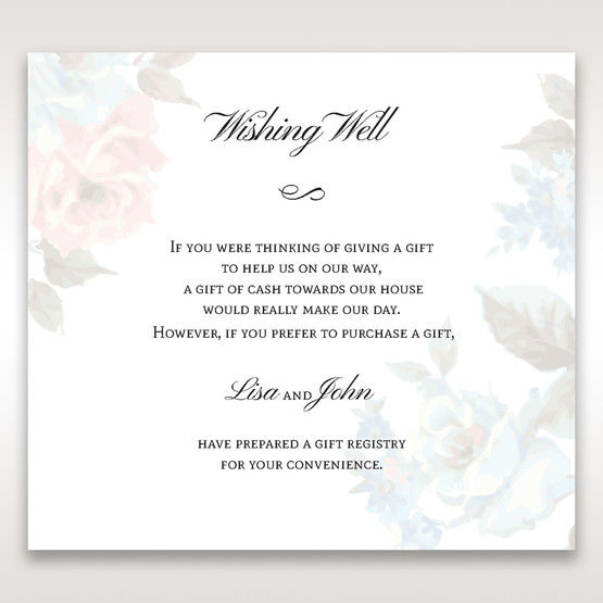 Blue Magical Flower Garden - Wishing Well / Gift Registry - Wedding Stationery - 80