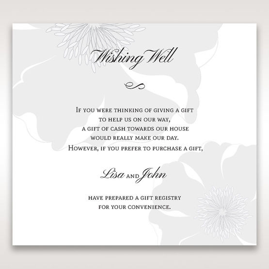 Silver/Gray Twinkling Rose - Wishing Well / Gift Registry - Wedding Stationery - 83