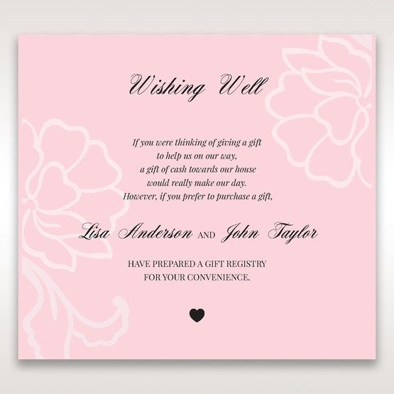 Pink Floral Laser Cut with Embossing - Wishing Well / Gift Registry - Wedding Stationery - 24