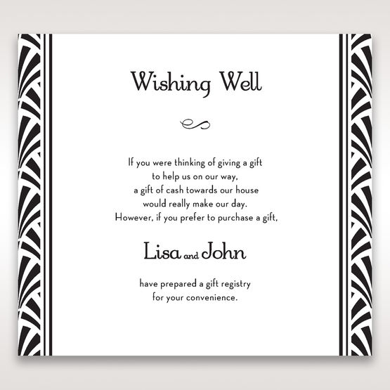 Black Dazzling Silver Foil Stamped - Wishing Well / Gift Registry - Wedding Stationery - 22