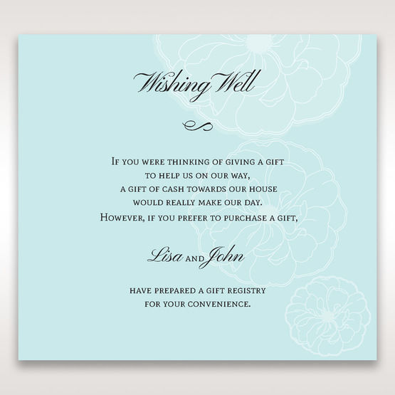 Blue Sculpted White Flower - Wishing Well / Gift Registry - Wedding Stationery - 32