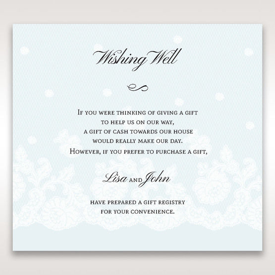 Silver/Gray Floral Couture in Blue & White - Wishing Well / Gift Registry - Wedding Stationery - 88