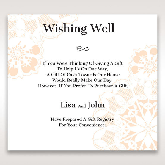 Orange Laser Cut Floral Frame - Wishing Well / Gift Registry - Wedding Stationery - 15
