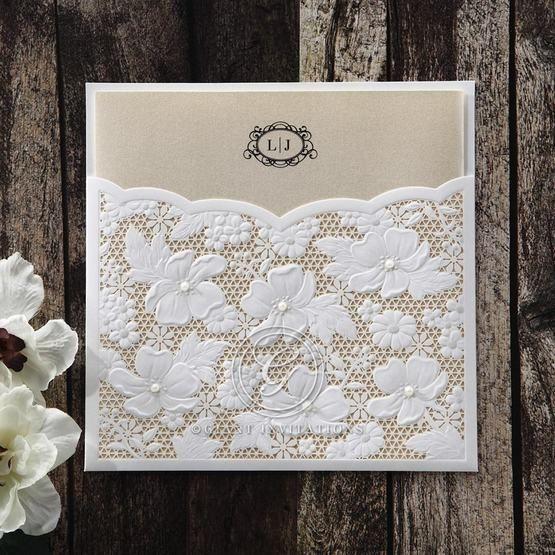 Yellow/Gold Precious Pearl Pocket - Wedding invitation - 68