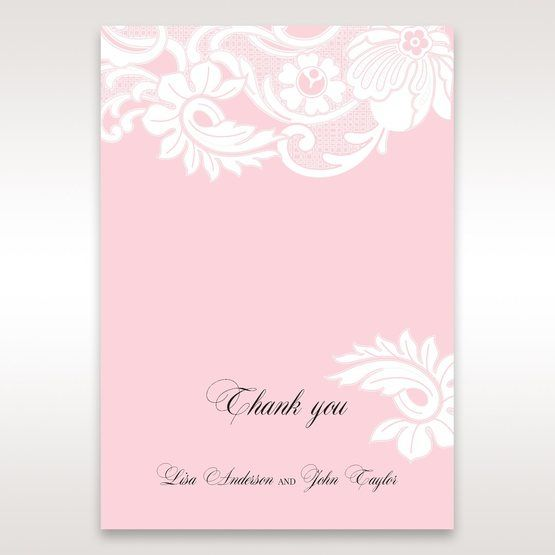 Pink Laser Cut Floral Half Pocket  - Thank You Cards - Wedding Stationery - 2