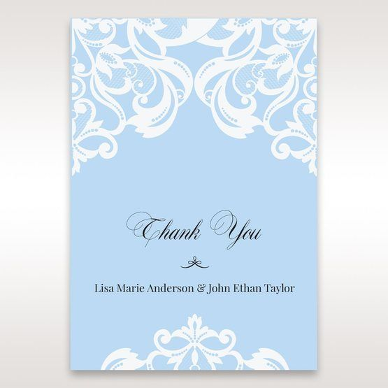 Blue Classy Laser Cut with White Bow - Thank You Cards - Wedding Stationery - 4