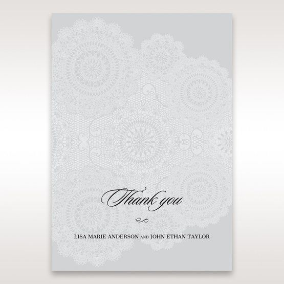Silver/Gray Handmade Vintage Lace Floral - Thank You Cards - Wedding Stationery - 87
