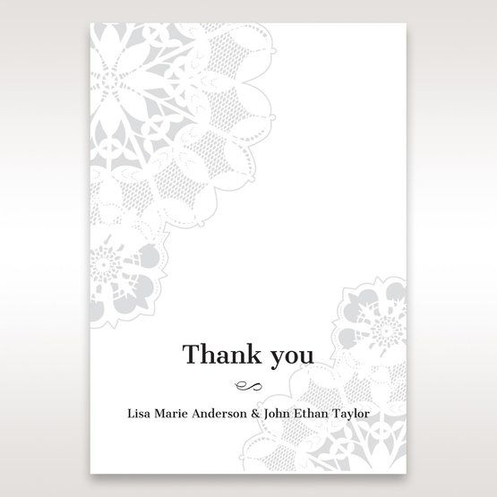 Black Laser Cut Floral Frame - Thank You Cards - Wedding Stationery - 19
