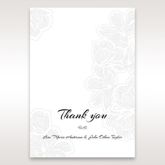 White Laser Cut Flower Frame - Thank You Cards - Wedding Stationery - 21