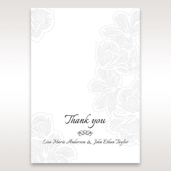 White Laser Cut Floral Lace - Thank You Cards - Wedding Stationery - 22