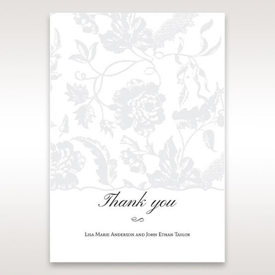 Silver/Gray Enchanted Floral Pocket III - Thank You Cards - Wedding Stationery - 69