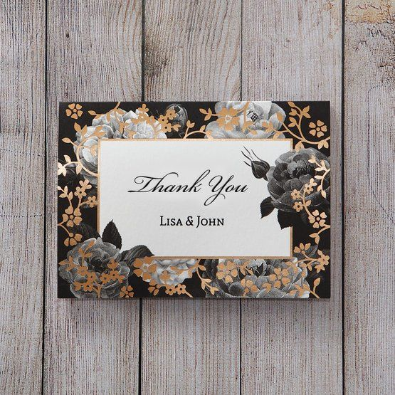 Black Gold Poppies in a Rose Garden - Thank You Cards - Wedding Stationery - 27