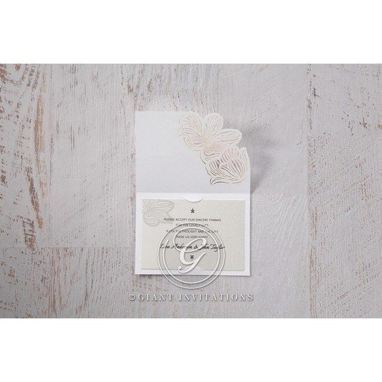 White Laser Cut Floral Lace - Thank You Cards - Wedding Stationery - 1