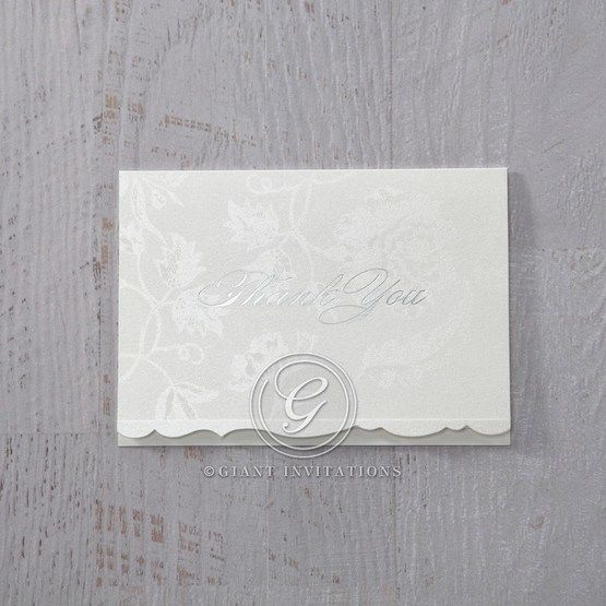 White Enchanted Folral Pocket III - Thank You Cards - Wedding Stationery - 35