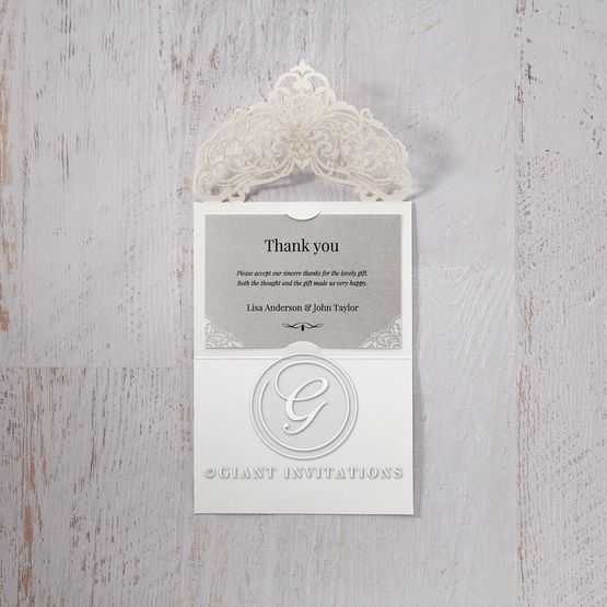 Silver/Gray Jeweled Romance Laser Cut - Thank You Cards - Wedding Stationery - 58