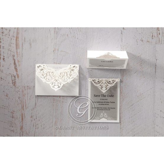 Silver/Gray Jeweled Romance Laser Cut - Thank You Cards - Wedding Stationery - 59