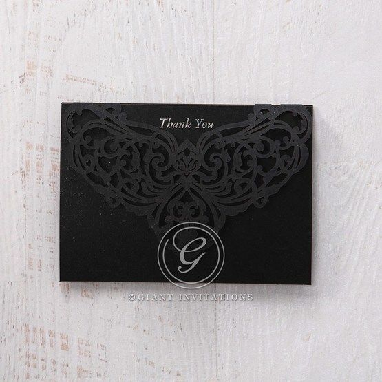 White Jeweled Romance Black Laser Cut - Thank You Cards - Wedding Stationery - 45