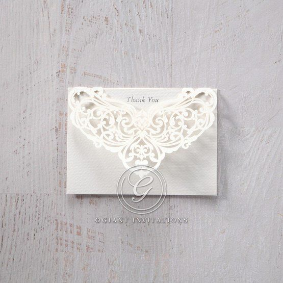 Silver/Gray Jeweled White Lasercut Pocket - Thank You Cards - Wedding Stationery - 48