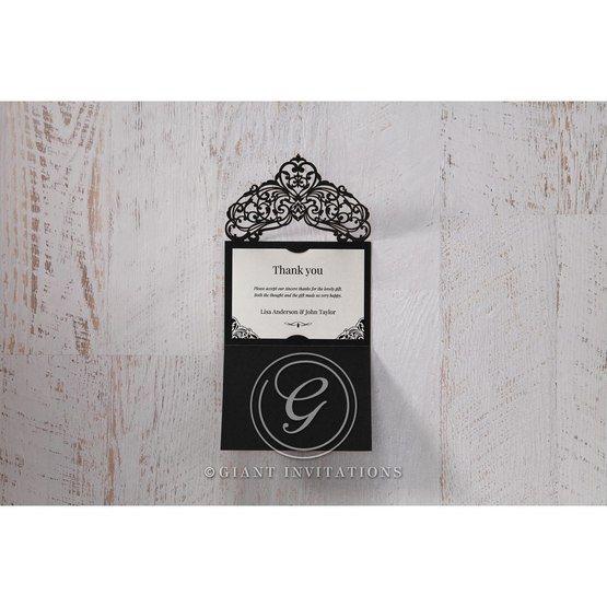 White Jeweled Romance Black Lasercut Pocket - Thank You Cards - Wedding Stationery - 78