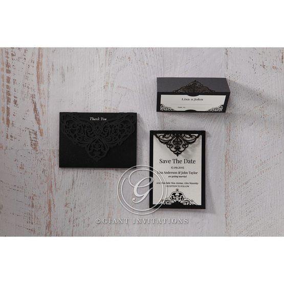 White Jeweled Romance Black Lasercut Pocket - Thank You Cards - Wedding Stationery - 79