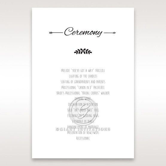 Country Lace Pocket Order of service in Ivory DG115086
