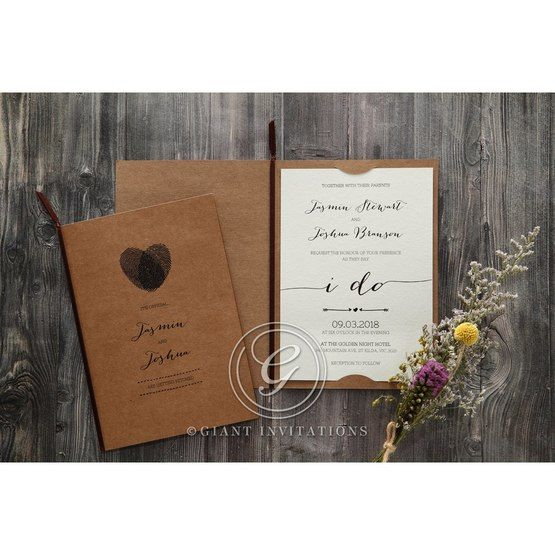 Simply Rustic Wedding invitation in Brown PWI115085 10