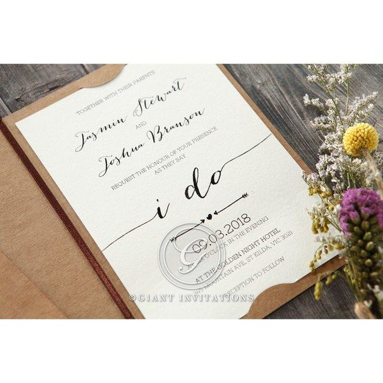 Simply Rustic Wedding invitation in Brown PWI115085 11