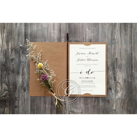 Simply Rustic Wedding invitation in Brown PWI115085 12