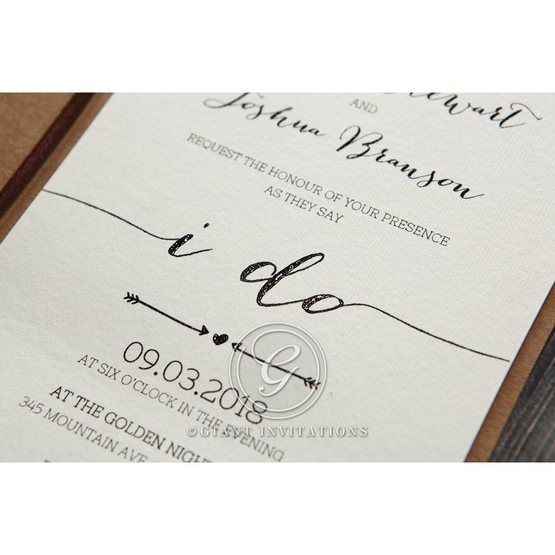 Simply Rustic Wedding invitation in Brown PWI115085 13