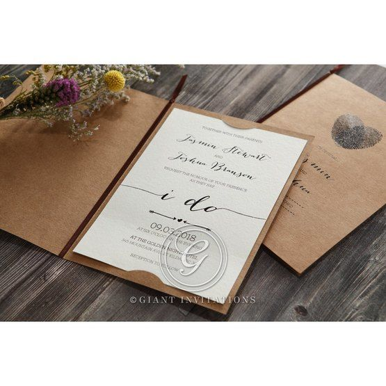 Simply Rustic Wedding invitation in Brown PWI115085 14