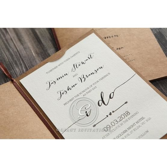 Simply Rustic Wedding invitation in Brown PWI115085 15