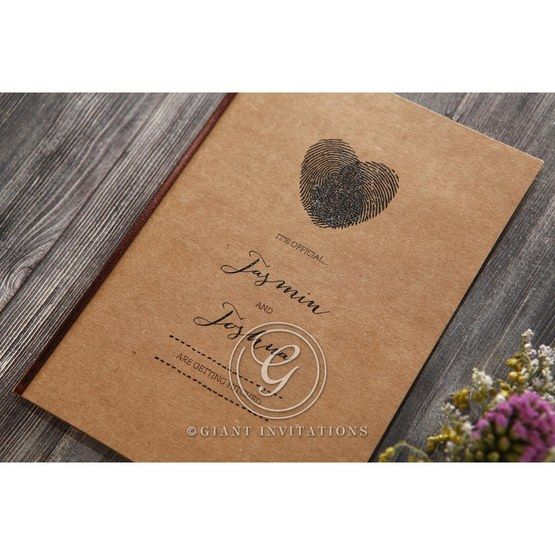 Simply Rustic Wedding invitation in Brown PWI115085 3