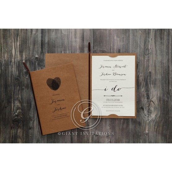 Simply Rustic Wedding invitation in Brown PWI115085 8