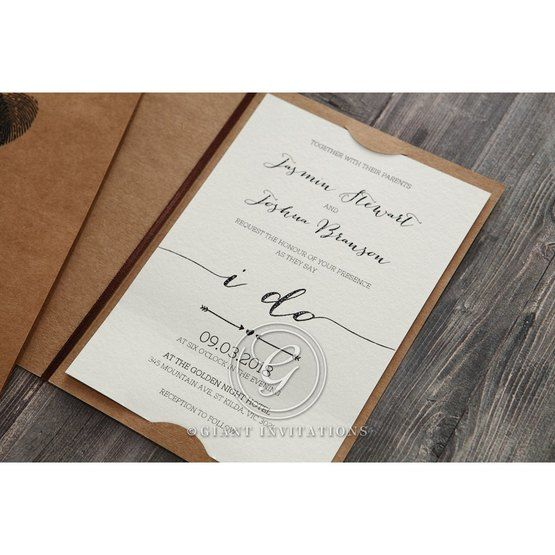 Simply Rustic Wedding invitation in Brown PWI115085 9