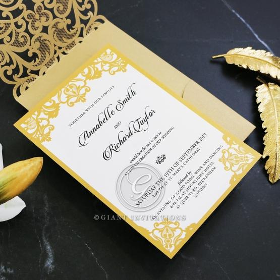 Wedding Invitations Golden Baroque Pocket
