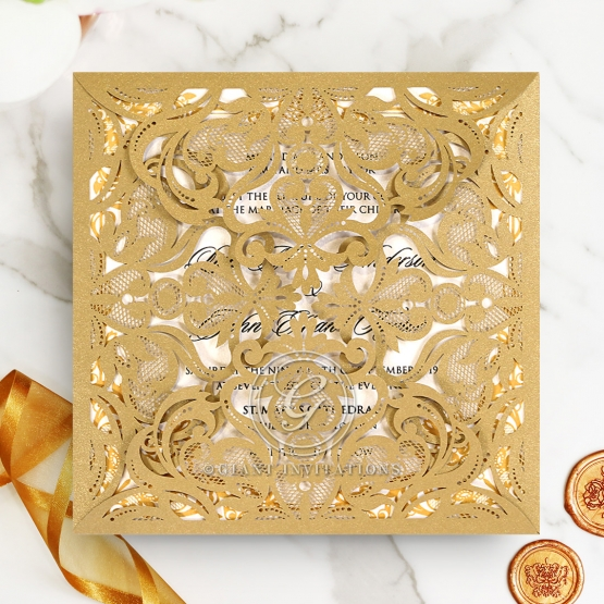 Wedding Invitations Golden Divine Damask
