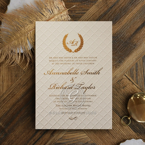 Glamourous Quilted Wedding Invitation Glossy Gold Foiled