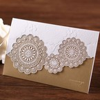 Gold trifold laser cut wedding invitation, gold foil stamping, matte finish paper, lace design. Embossed flowers