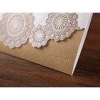 Gold vintage trifold wedding invitation, foil stamping detail