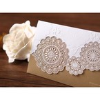 Gold trifold laser cut wedding invitation, gold foil stamping, matte finish paper, lace design, cropped