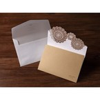 Gold vintage trifold wedding invitation, laser cut, foil stamping with envelope