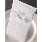 Top view of the rectangular damask invitation featuring white insert; embossed cover and three panel inner card